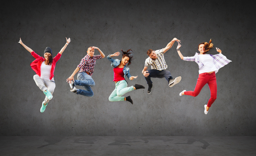young people jumping